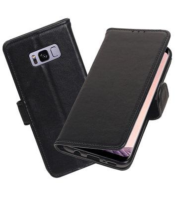 Echt Lederen Hoesje Wallet Case voor Samsung Galaxy S8 Zwart