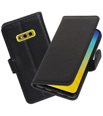 Echt Lederen Hoesje Wallet Case voor Samsung Galaxy S10e Zwart