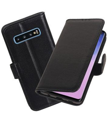 Echt Lederen Hoesje Wallet Case voor Samsung Galaxy S10 Zwart