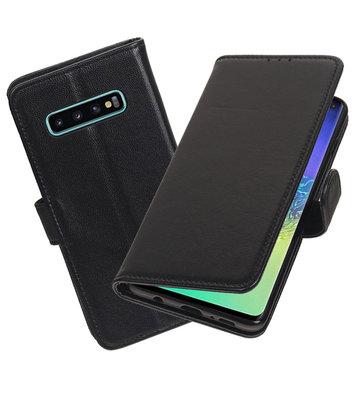 Echt Lederen Hoesje Wallet Case voor Samsung Galaxy S10 Plus Zwart