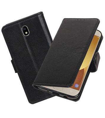 Echt Lederen Hoesje Wallet Case voor Samsung Galaxy J7 (2017) Zwart