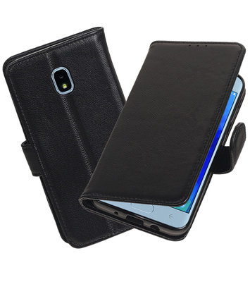 Echt Lederen Hoesje Wallet Case voor Samsung Galaxy J3 (2018) Zwart