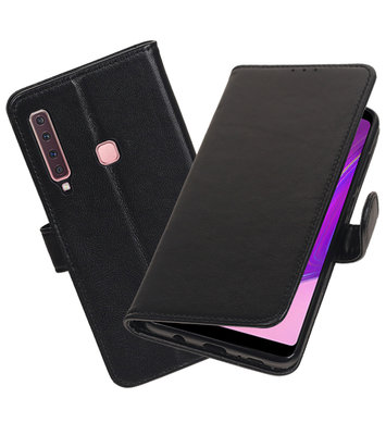Echt Lederen Hoesje Wallet Case voor Samsung Galaxy A9 (2018) Zwart
