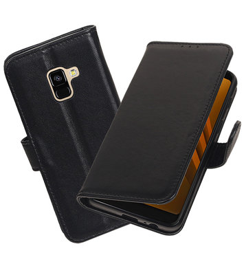 Echt Lederen Hoesje Wallet Case voor Samsung Galaxy A8 (2018) Zwart