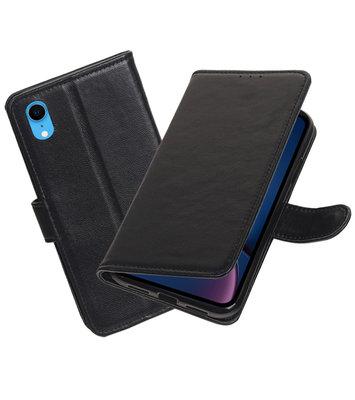 Echt Lederen Hoesje Wallet Case voor iPhone XR Zwart