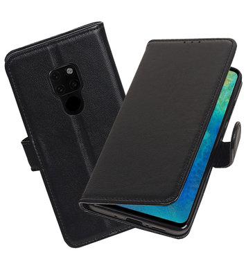 Echt Lederen Hoesje Wallet Case voor Huawei Mate 20 Zwart