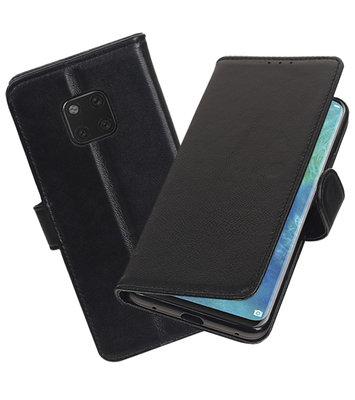 Echt Lederen Hoesje Wallet Case voor Huawei Mate 20 Pro Zwart