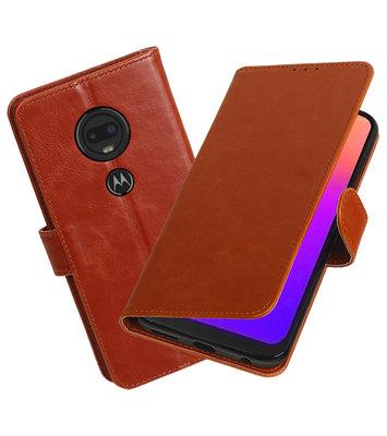 Motief Bookstyle Hoesje voor Motorola Moto G7 Bruin