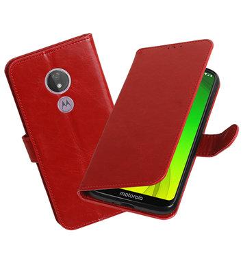Motief Bookstyle Hoesje voor Motorola Moto G7 Power Rood