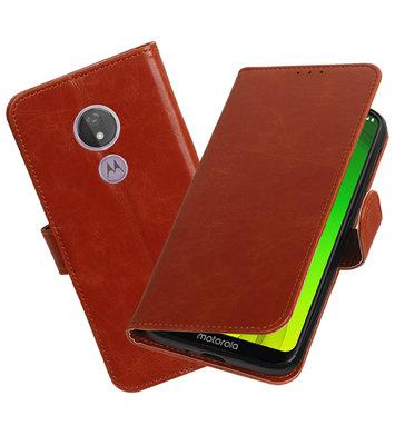 Motief Bookstyle Hoesje voor Motorola Moto G7 Power Bruin