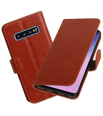 Motief Bookstyle Hoesje voor Samsung Galaxy S10 Bruin