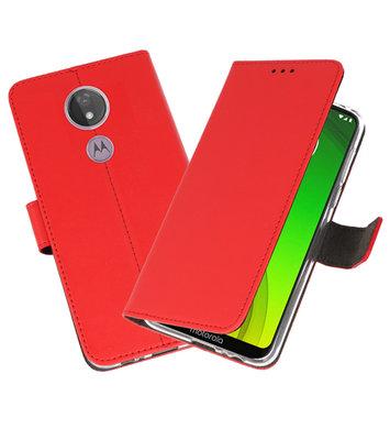 Booktype Wallet Cases Hoesje voor Motorola Moto G7 Power Rood