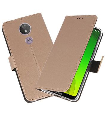 Booktype Wallet Cases Hoesje voor Motorola Moto G7 Power Goud