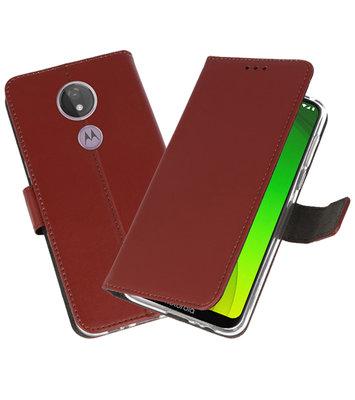 Booktype Wallet Cases Hoesje voor Motorola Moto G7 Power Bruin