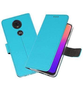 Booktype Wallet Cases Hoesje voor Motorola Moto G7 Blauw