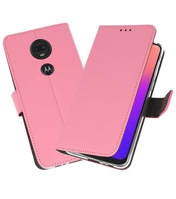 Booktype Wallet Cases Hoesje voor Motorola Moto G7 Roze