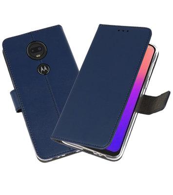 Booktype Wallet Cases Hoesje voor Motorola Moto G7 Navy