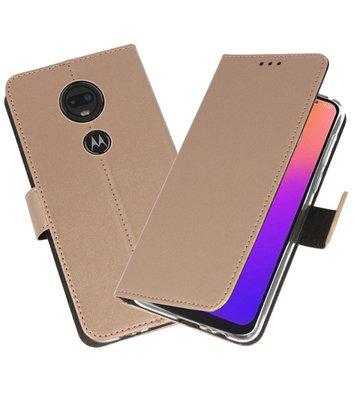 Booktype Wallet Cases Hoesje voor Motorola Moto G7 Goud
