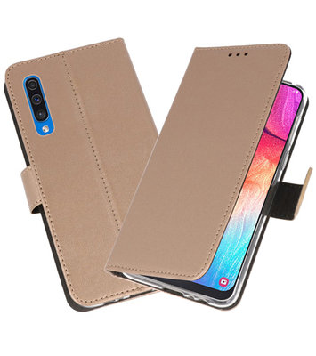 Booktype Wallet Cases Hoesje voor Samsung Galaxy A50 Goud