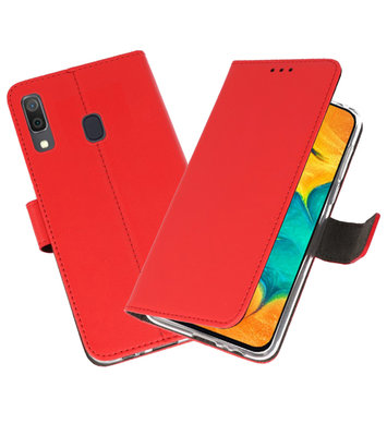 Booktype Wallet Cases Hoesje voor Samsung Galaxy A30 Rood