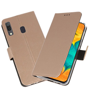 Booktype Wallet Cases Hoesje voor Samsung Galaxy A30 Goud