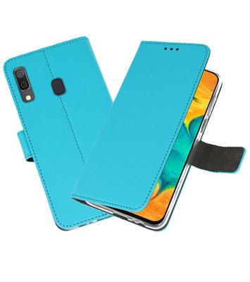 Booktype Wallet Cases Hoesje voor Samsung Galaxy A30 Blauw