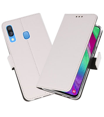 Booktype Wallet Cases Hoesje voor Samsung Galaxy A40 Wit