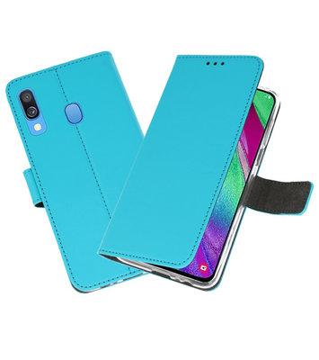 Booktype Wallet Cases Hoesje voor Samsung Galaxy A40 Blauw