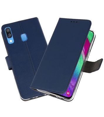 Booktype Wallet Cases Hoesje voor Samsung Galaxy A40 Navy
