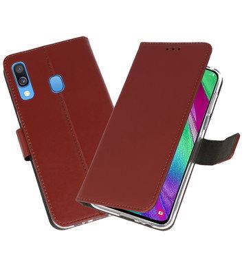 Booktype Wallet Cases Hoesje voor Samsung Galaxy A40 Bruin