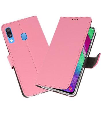 Booktype Wallet Cases Hoesje voor Samsung Galaxy A40 Roze