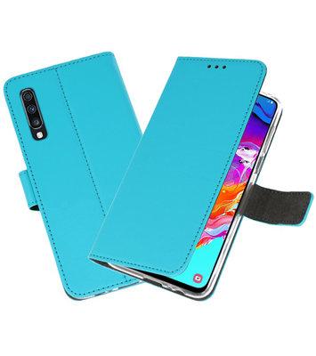 Booktype Wallet Cases Hoesje voor Samsung Galaxy A70 Blauw