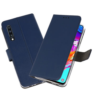 Booktype Wallet Cases Hoesje voor Samsung Galaxy A70 Navy