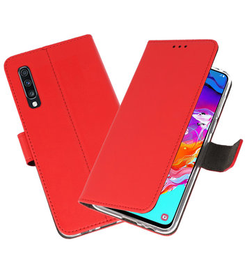 Booktype Wallet Cases Hoesje voor Samsung Galaxy A70 Rood