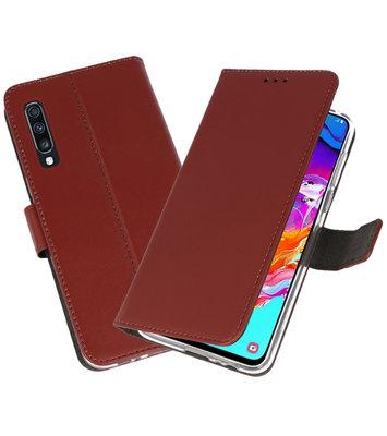 Booktype Wallet Cases Hoesje voor Samsung Galaxy A70 Bruin