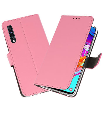 Booktype Wallet Cases Hoesje voor Samsung Galaxy A70 Roze