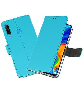 Booktype Wallet Cases Hoesje voor Huawei P30 Lite Blauw