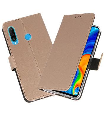 Booktype Wallet Cases Hoesje voor Huawei P30 Lite Goud