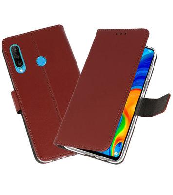 Booktype Wallet Cases Hoesje voor Huawei P30 Lite Bruin