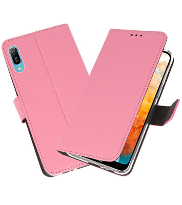 Booktype Wallet Cases Hoesje voor Huawei Y6 Pro 2019 Roze