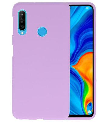 Color TPU Hoesje voor Huawei P30 Lite Paars