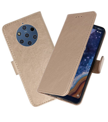 Bookstyle Wallet Cases Hoesje voor Nokia 9 PureView Goud