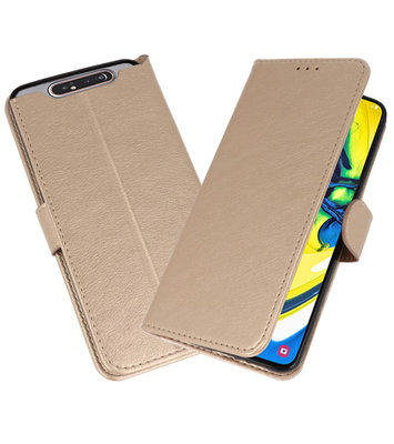 Bookstyle Wallet Cases Hoesje voor Samsung Galaxy A80 / A90 Goud