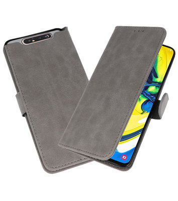Bookstyle Wallet Cases Hoesje voor Samsung Galaxy A80 / A90 Grijs