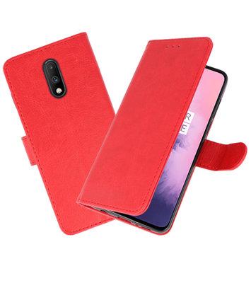 Bookstyle Wallet Cases Hoesje voor OnePlus 7 Rood