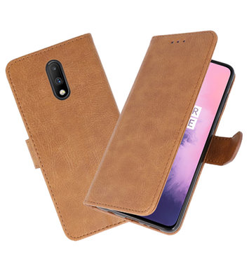 Bookstyle Wallet Cases Hoesje voor OnePlus 7 Bruin