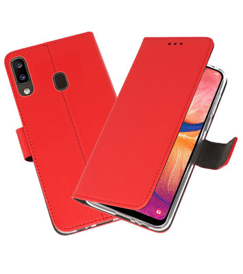 Wallet Cases Hoesje voor Samsung Galaxy A20 Rood