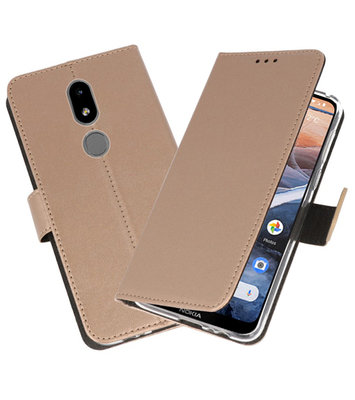 Wallet Cases Hoesje voor Nokia 3.2 Goud