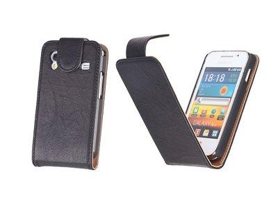 BestCases Luxe Kreukelleer Flipcase Hoesje voor Samsung Galaxy Ace Zwart