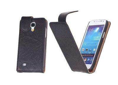 BestCases Kreukelleer Flipcase Hoesje voor Samsung Galaxy S4 Mini Zwart
